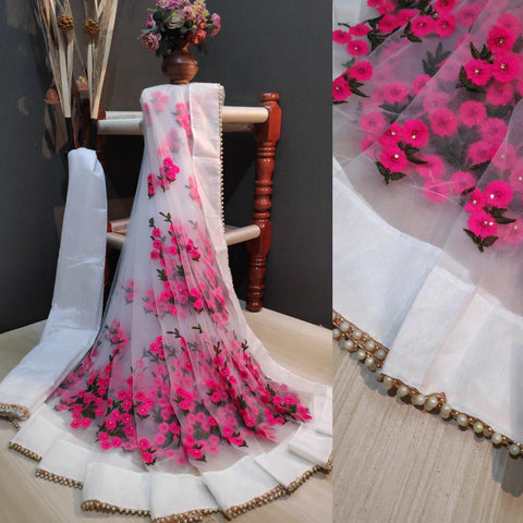 White and Pink Color Net Women's Saree with Blouse Piece - 1199-A
