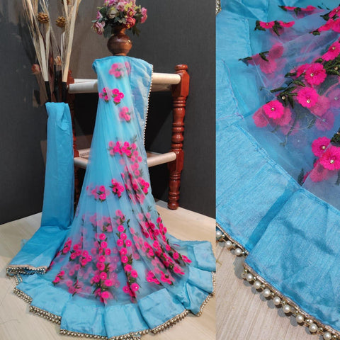 Sky Blue and Pink Color Net Women's Saree with Blouse Piece - 1199-L