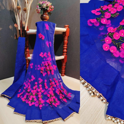 Royal Blue and Pink Color Net Women's Saree with Blouse Piece - 1199-Q