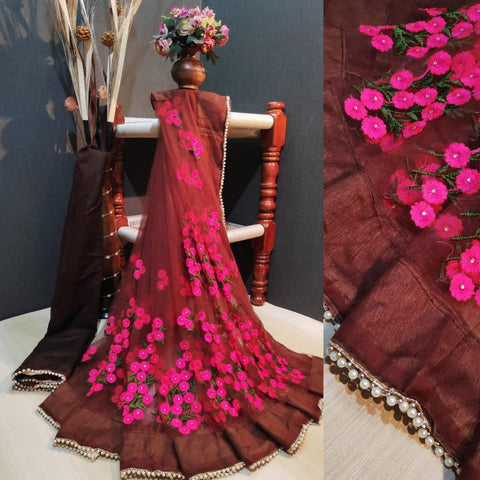 Brown and Pink Color Net Women's Saree with Blouse Piece - 1199-R