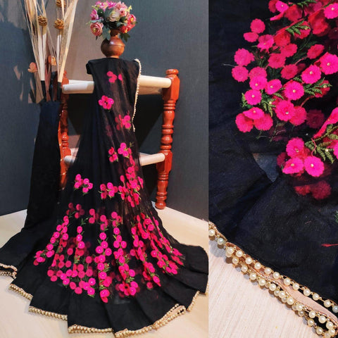Black and Pink Color Net Women's Saree with Blouse Piece - 1199-S