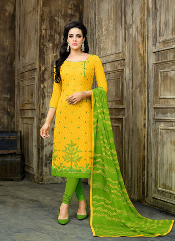 Yellow Color Cotton Jacquard UnStitched Salwar  - 11DRD1008