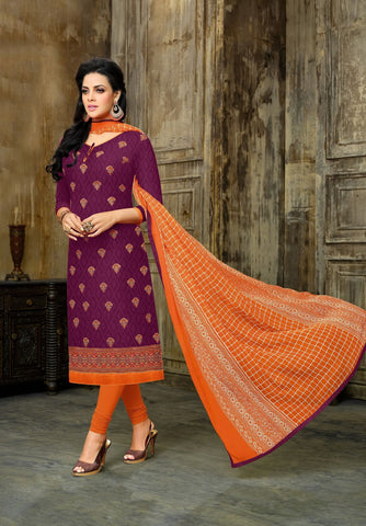 Magenta Color Cotton Jacquard UnStitched Salwar  - 11DRD1021