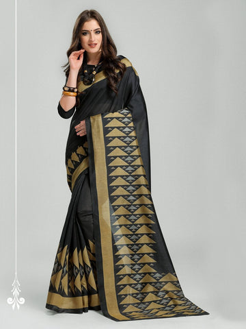 Black Color Bhagalpuri Silk Saree - 11WOM11902