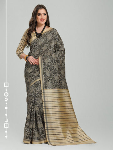 Black Color Bhagalpuri Silk Saree - 11WOM11904