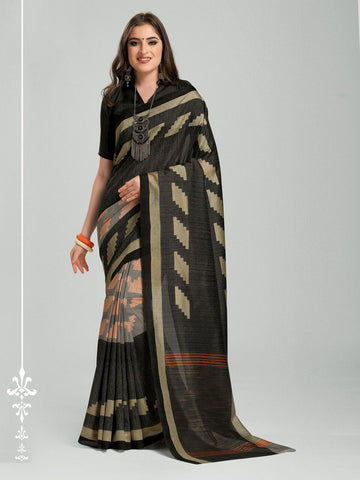 Black Color Bhagalpuri Silk Saree - 11WOM11907