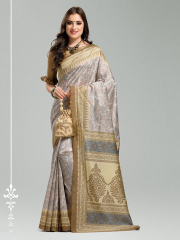 Beige Color Bhagalpuri Silk Saree - 11WOM11908