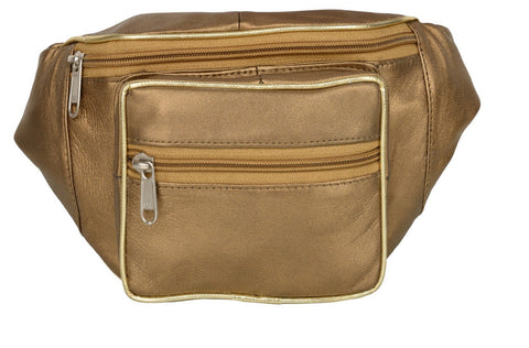 Gold Color Leather Unisex Travel Bag - 1207GOLD