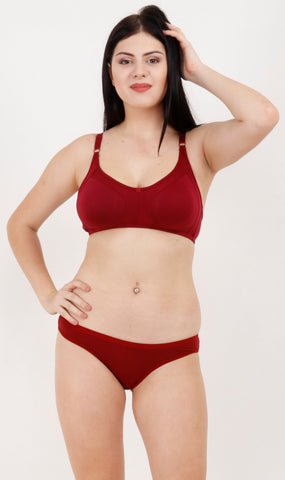 Maroon Color Rayon Mix Cotton Women Lingerie Set - 123MAROON