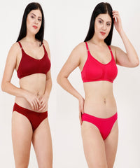 Pink and Maroon Color Rayon Mix Cotton Women Lingerie Set - 123PINKMRUN