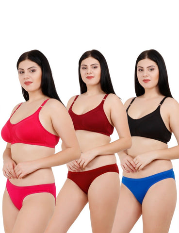 Multi Color Rayon Women's 3 Pack Lingerie Set - 123SET3IN1