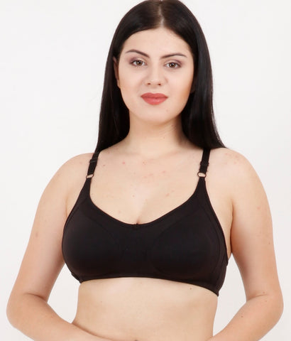 Black Color Rayon Mix Cotton Women's Bra - 124BLK