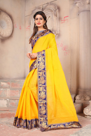 Yellow Color Semi Modal Chenderi Saree - 124C