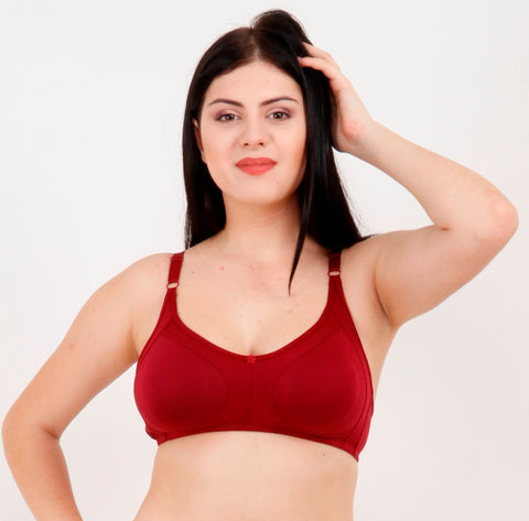 Maroon Color Rayon Mix Cotton Women's Bra - 124MAROON