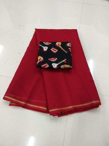 Maroon Color Semi Modal Chendri  Saree - 125F