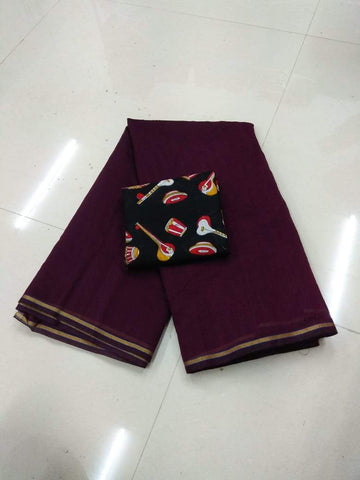 Purple Color Semi Modal Chendri  Saree - 125N