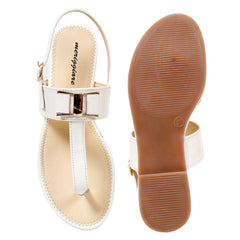 MERIGGIARE White Color Synthetic Leather Women Flat Sandals - MGFJ5127U