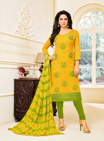 Yellow Color Cotton Jacquard UnStitched Salwar  - 12DRD15008