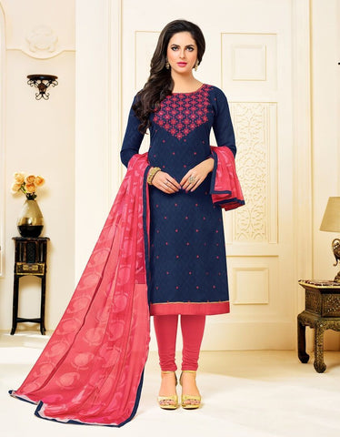 Navy Blue Color Cotton Jacquard UnStitched Salwar  - 12DRD15011