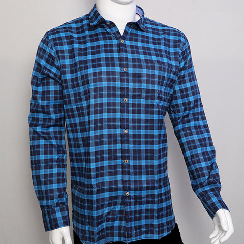 Blue Color Premium Cotton Men's Checkered Shirt - 1AF-121119-CH-3