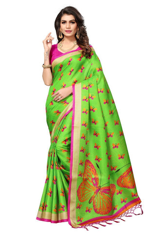 Green Color Khadi Silk Saree - 1301-Green