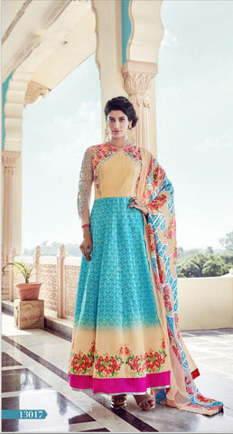 Multi Color Tapeta Silk With Banglori Sarteen Un Stitched Salwar - 13017