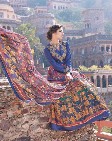 Multi Color Tapeta Silk With Banglori Sarteen Un Stitched Salwar - 13023