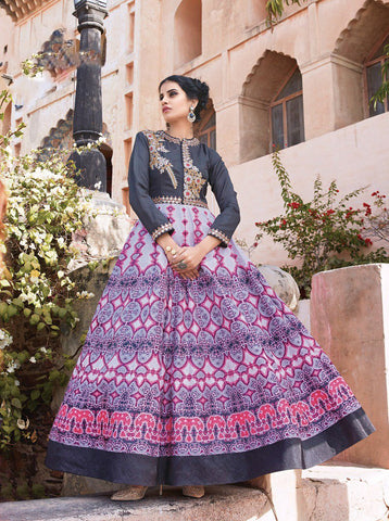 Multi Color Tapeta Silk With Banglori Sarteen Un Stitched Salwar - 13026