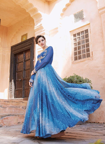 Blue Color Tapeta Silk With Banglori Sarteen Un Stitched Salwar - 13027