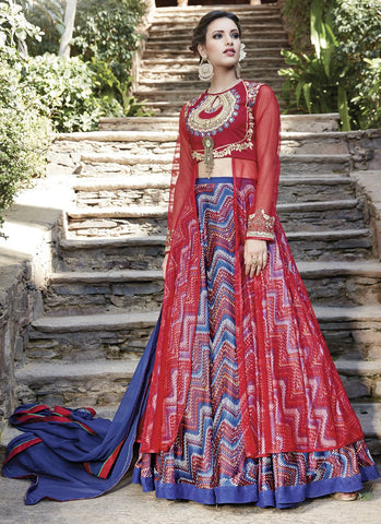 Red Color Heavy Silk and Mono Net Semi Stitched Lehenga  - 13031