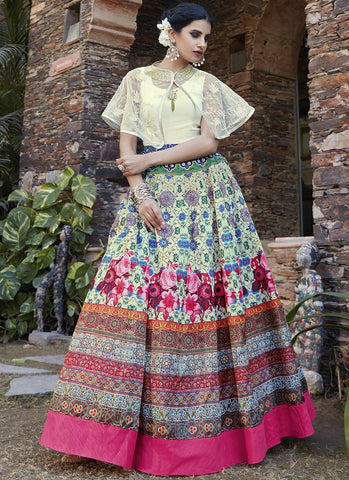 Multi Color Georgette and Net Semi Stitched Lehenga  - 13032