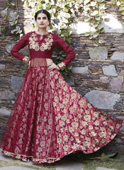 Buy Multi Color Heavy Silk and Mono Net Semi Stitched Lehenga