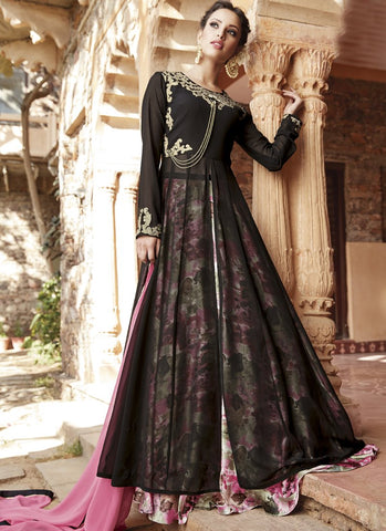 Multi Color Faux Georgette Semi Stitched Lehenga  - 13036