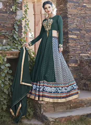 Multi Color Faux Georgette Semi Stitched Lehenga  - 13037
