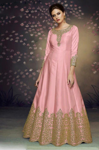 Baby Pink Color Heavy Nazneen Gown - 13203