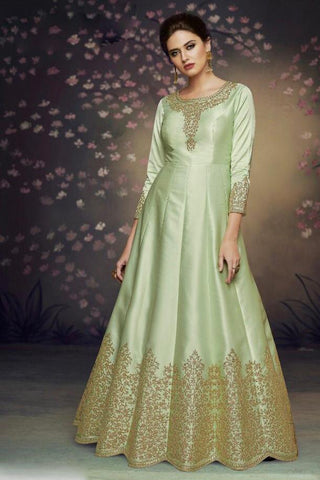 Green Color Heavy Nazneen Gown - 13204