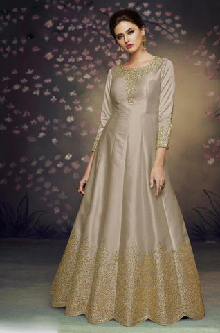 Grey Color Heavy Nazneen Gown - 13205
