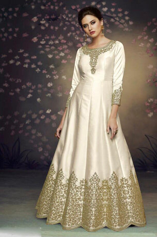 White Color Heavy Nazneen Gown - 13206