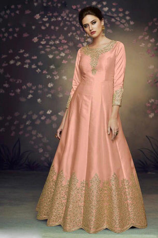 Light Orange Color Heavy Nazneen Gown - 13207