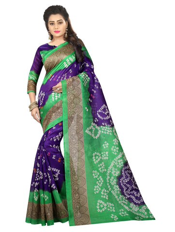 Multi Color Bhagalpuri Silk Women's Saree - 138EKA03
