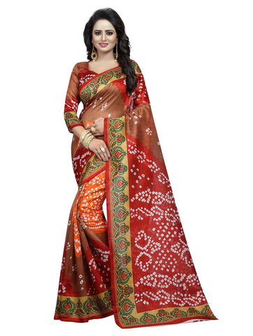 Multi Color Bhagalpuri Silk Women's Saree - 138EKA04