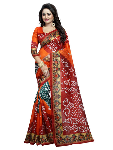 Multi Color Bhagalpuri Silk Women's Saree - 138EKA05