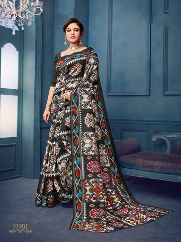Black Color Bhagalpuri Silk Saree - 13WOM13901