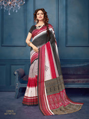 Buy Black & Red Color Bhagalpuri Silk Saree