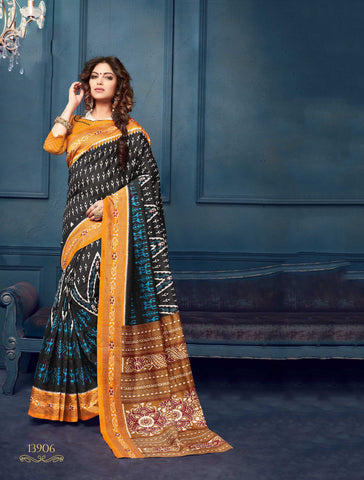 Black and Yellow Color Bhagalpuri Silk Saree - 13WOM13906