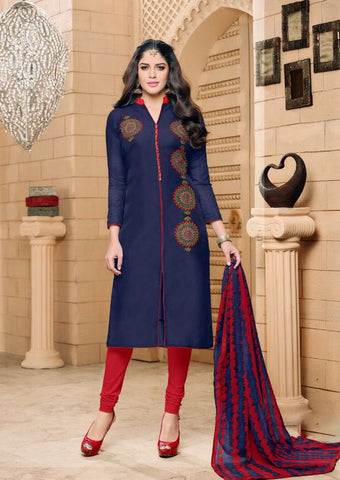 Navy Blue Color Chanderi Cotton UnStitched Salwar  - 13dmk208