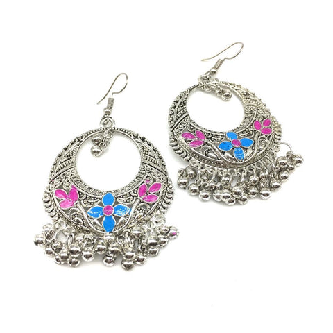Blue and Pink Color Alloy Light Weight Earring - 1403NE01-b