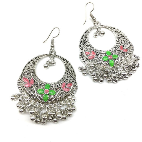 Green and Pink Color Alloy Light Weight Earring - 1403NE01-g