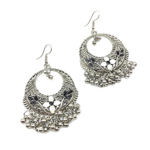 White and Black Color Alloy Light Weight Earring - 1403NE01-w
