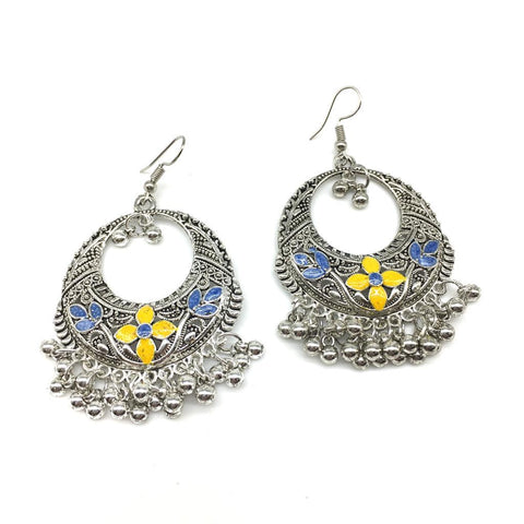 Yellow and Blue Color Alloy Light Weight Earring - 1403NE01-y